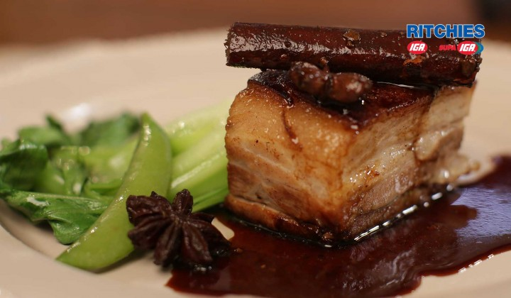 Twice Cooked Crispy Pork Belly oven baked with Star Anise & Ginger