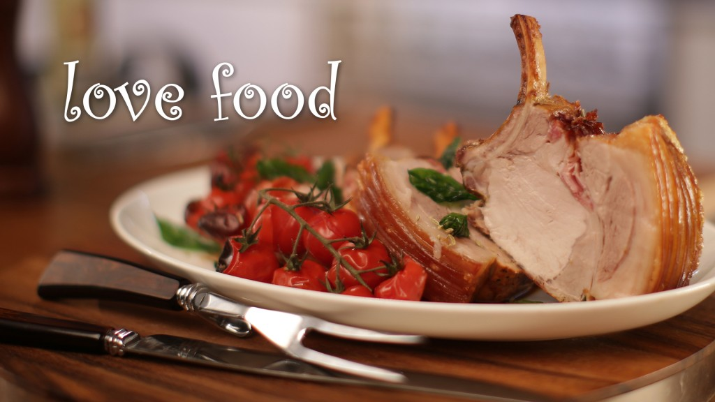 Italian pork rib roast with pancetta and roasted truss tomatoes