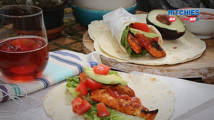 Tex-Mex grilled chicken wraps