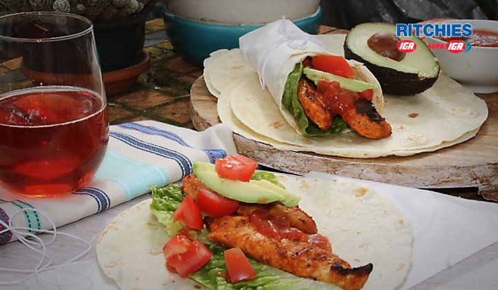 Tex-Mex grilled chicken wraps