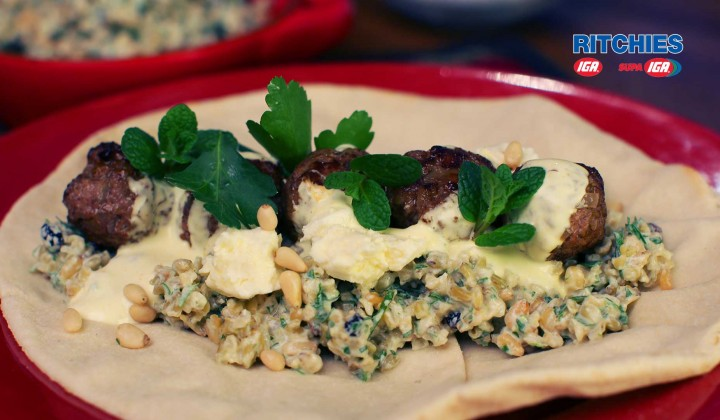 Moroccan lamb balls with freekeh salad and yoghurt sauce