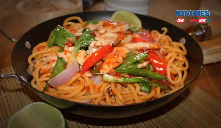 Sweet Chilli Chicken Stir-fry with Asian Greens and Hokien