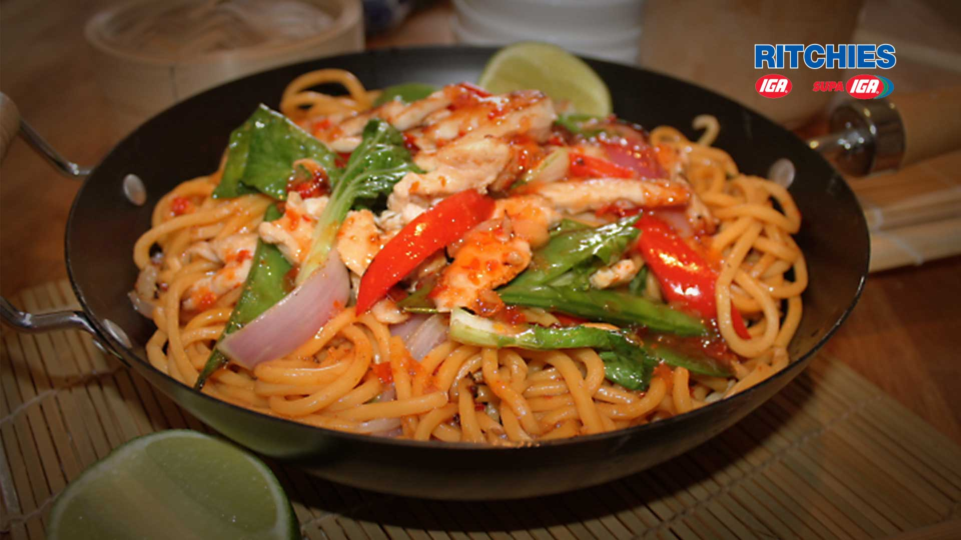 chicken stir-fry with Asian greens and hokkien noodles