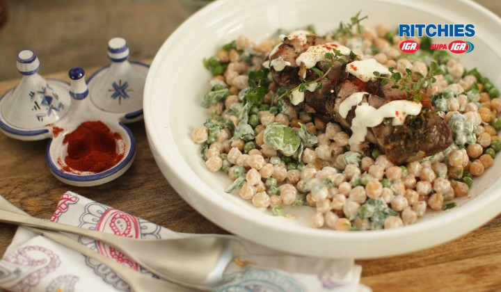 BBQ lamb rump marinated with herb and garlic with minted chickpea salad and yoghurt dressing