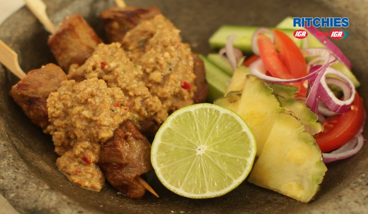 Indonesian beef satay with traditional peanut sauce