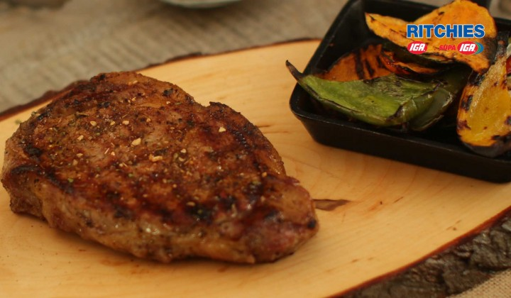 Outback BBQ steak with mountain pepper tomato relish