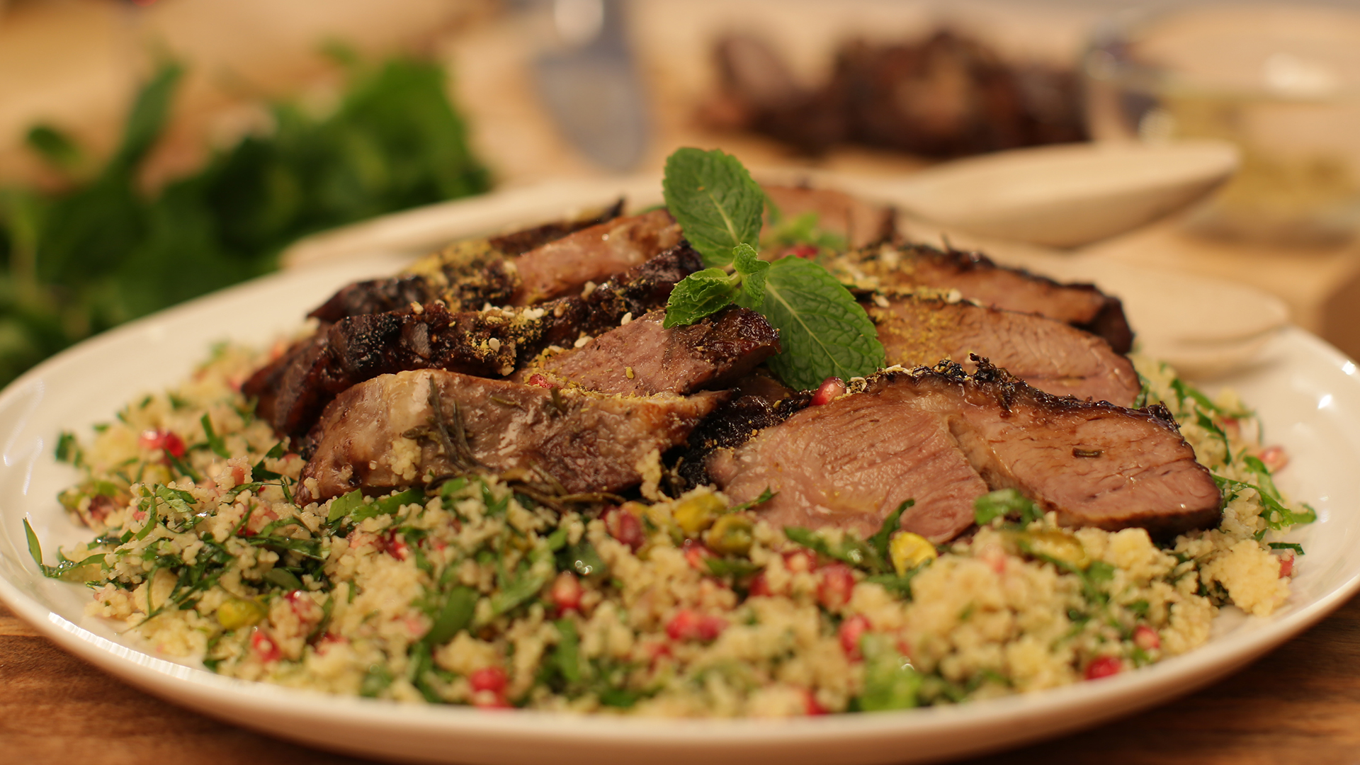 slow cooked Persian lamb roast with couscous salad