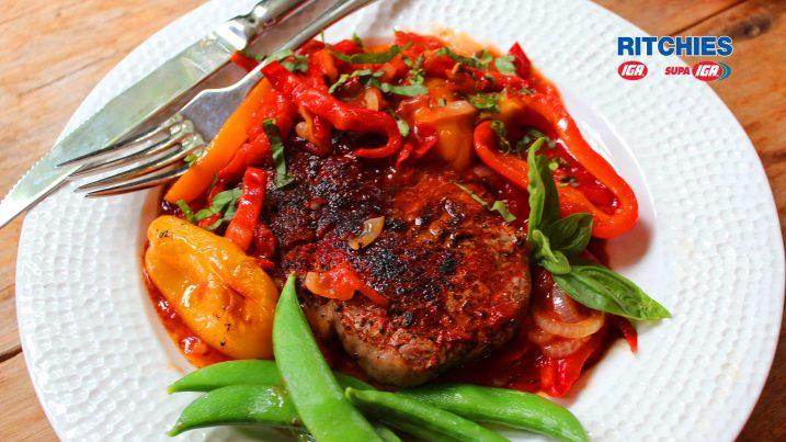 Paprika steak with peperonata sauce