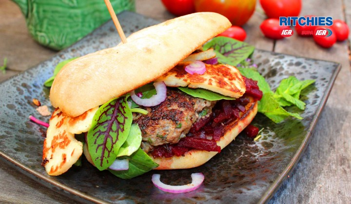 Lamb mint and haloumi burgers