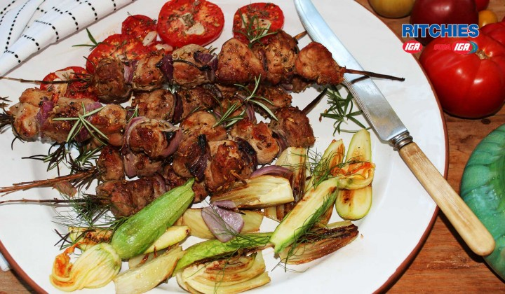 Pork rosemary and fennel skewers