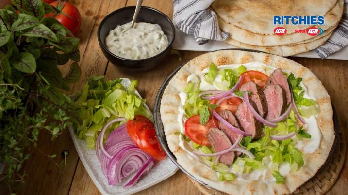 Mediterraneann lamb backstrap wraps