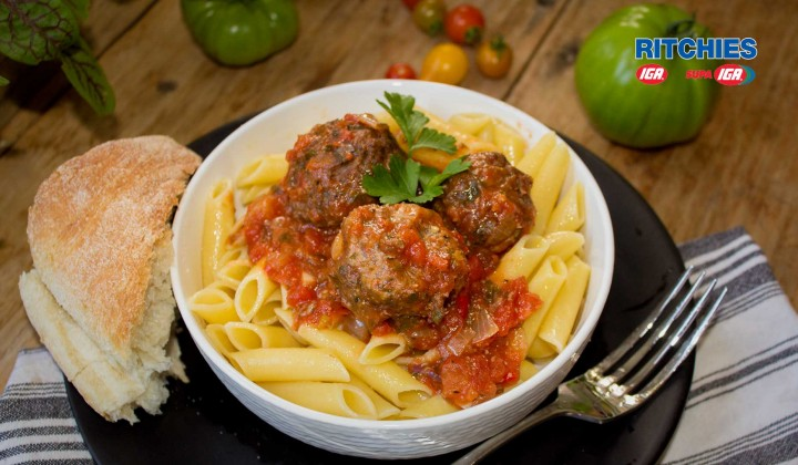 Citrus meatballs with tomato and herb sauce