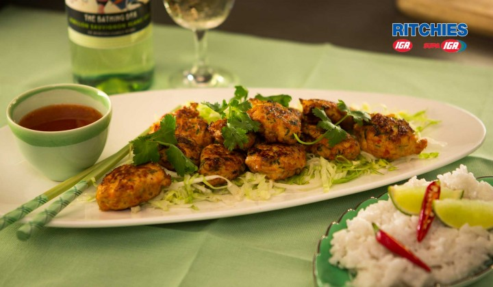 Thai style chicken balls with chilli lime sauce