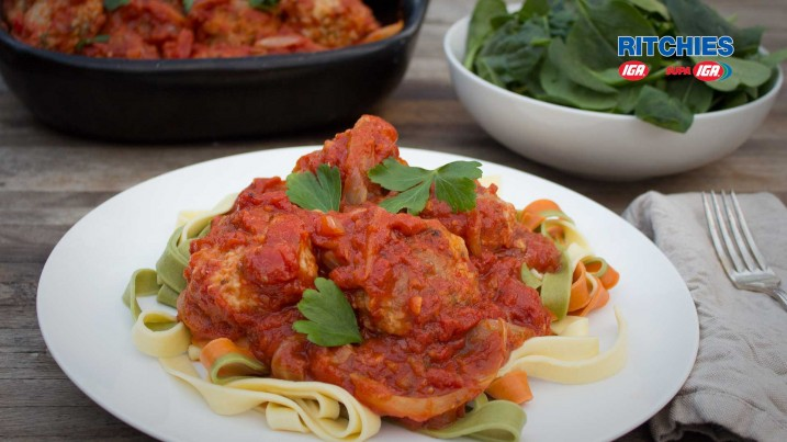 pork and fennel meatballs in tomato sauce