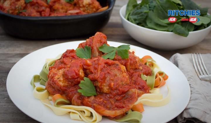 pork and fennel meatballs in tomato sauce