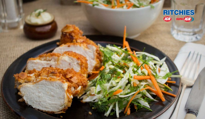 almond crusted chicken with fennel herb slaw