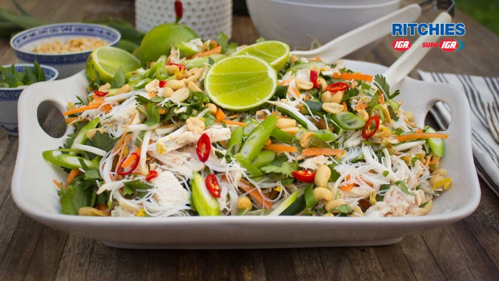 Vietnamese vermicelli salad with lime poached chicken