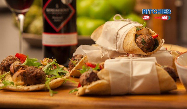 beef meatball and roast vegetable wraps