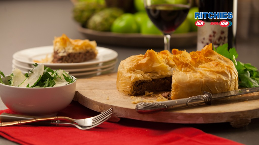 beef caramelised onion and filo pie