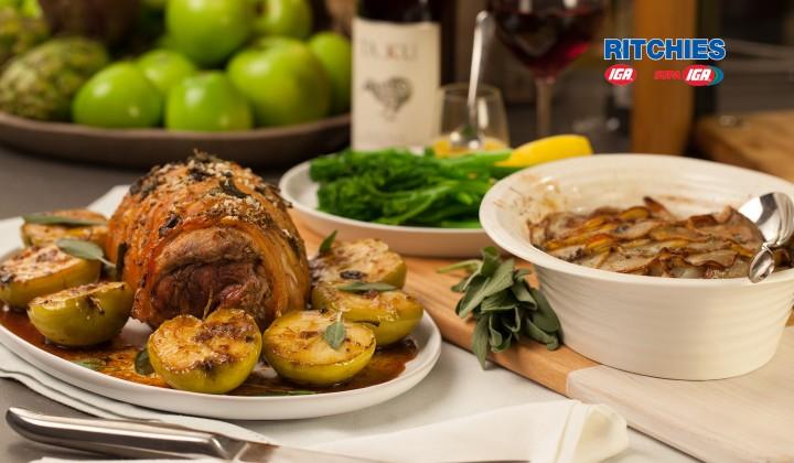 pork leg roast with fennel and sage