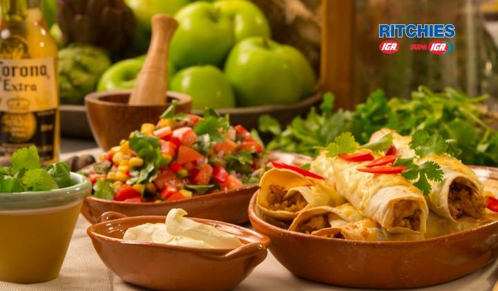 chicken tortillas with corn salad