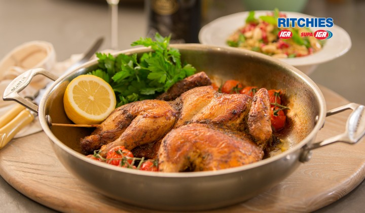 Lemon and Oregano Butterfly chicken with jewelled cous cous salad