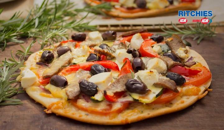 Greek style lamb pizza