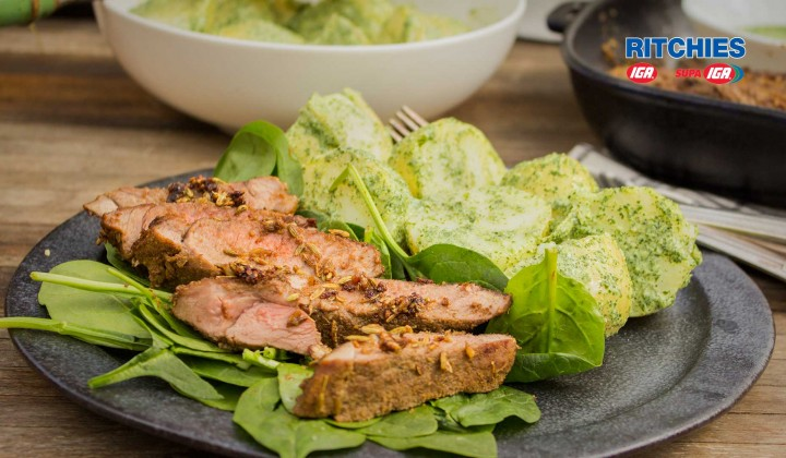 spiced lamb with herb yoghurt potatoes