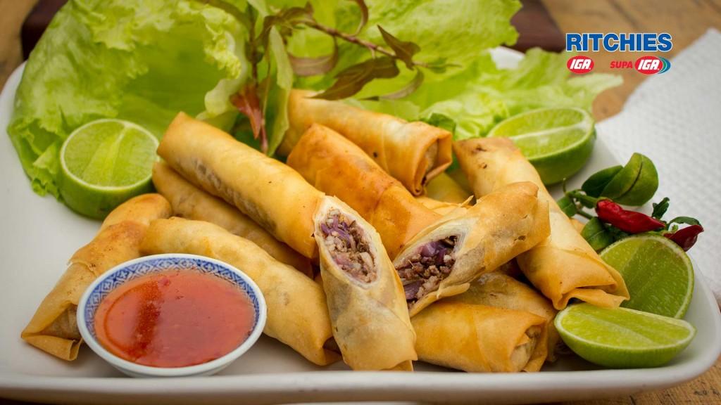 sticky pork spring rolls
