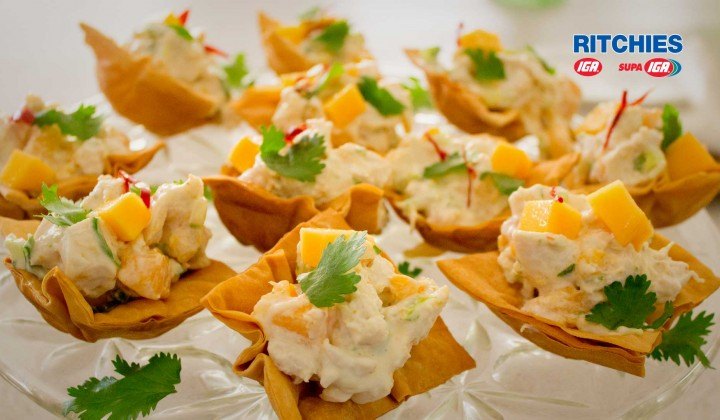 chicken and mango filo cups