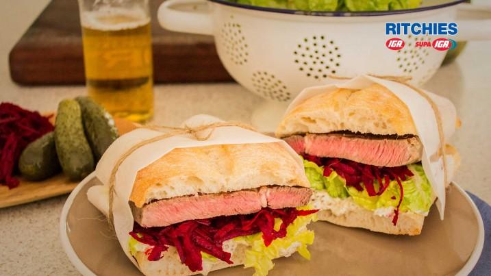 steak sandwich with caramelised beetroot