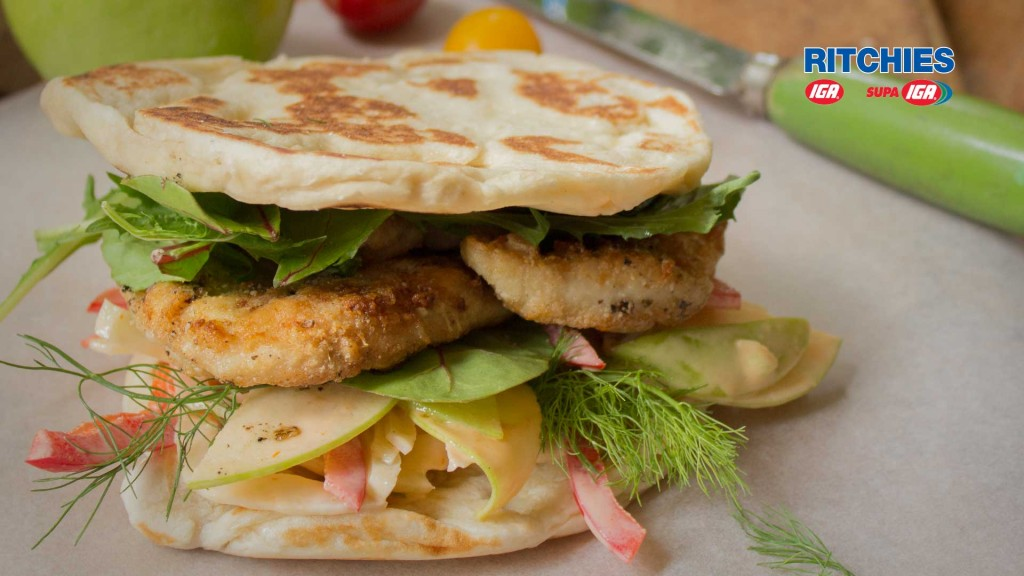 crispy chicken burger with green apple and fennel slaw