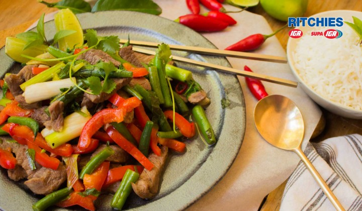 Thai style lamb with green beans