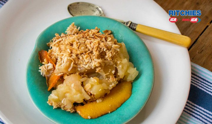 apple orange coconut crumble