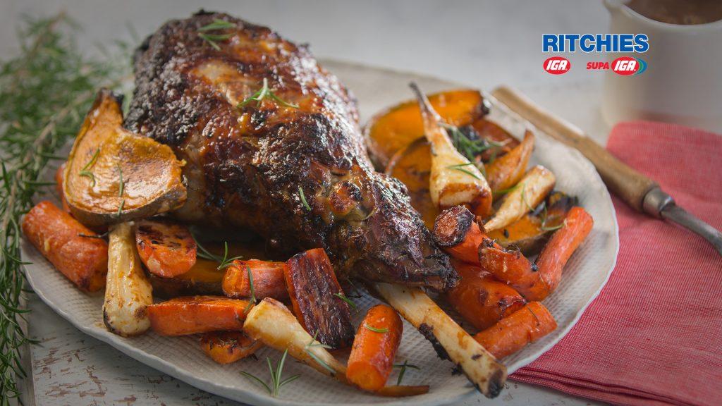 roast lamb with caramelised garlic