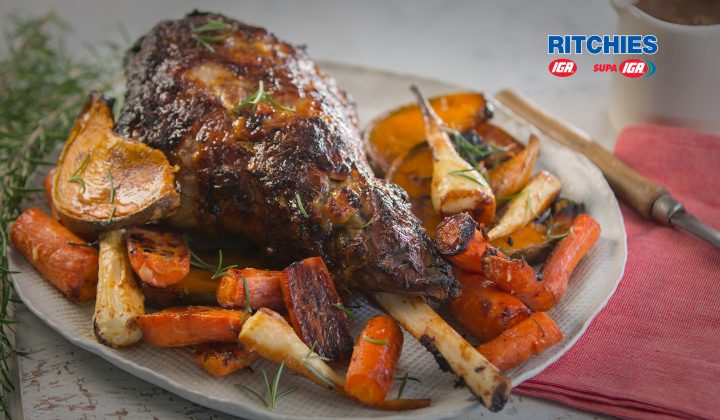 roast lamb with caramelised garlic