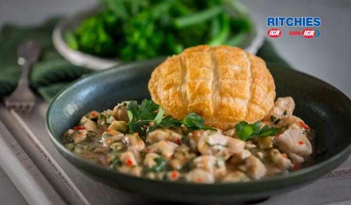 open chicken mushroom sweet chilli pies