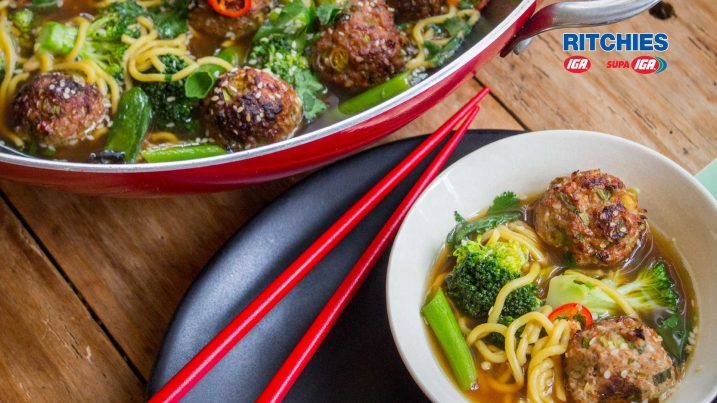 sesame pork meatball chilli soup with broccoli
