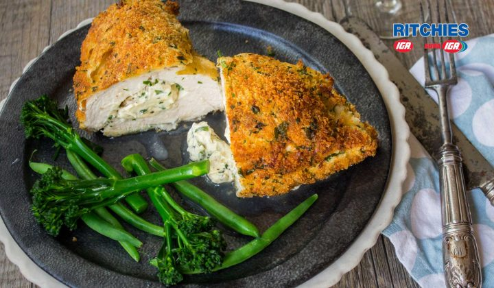 Parmesan crumbed chicken breast stuffed with cheese and chives