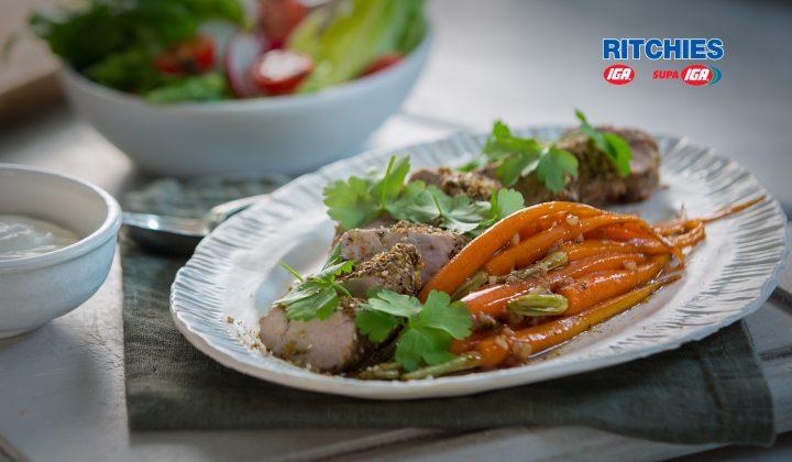 dukkah crusted pork fillet with honey glazed carrots