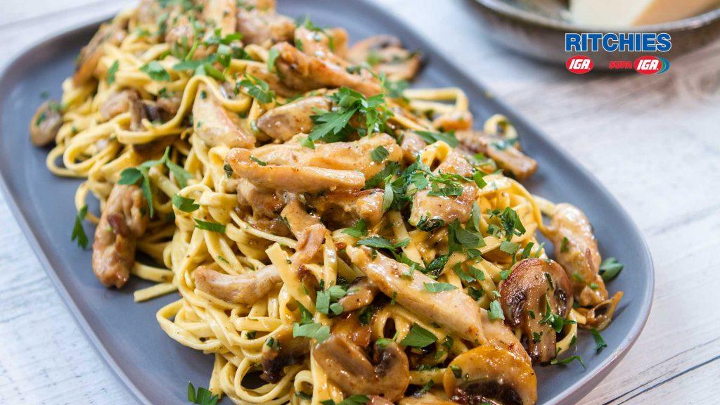Chicken mushroom Alfredo linguine