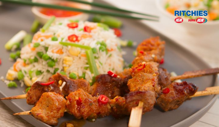 chilli jam pork skewers