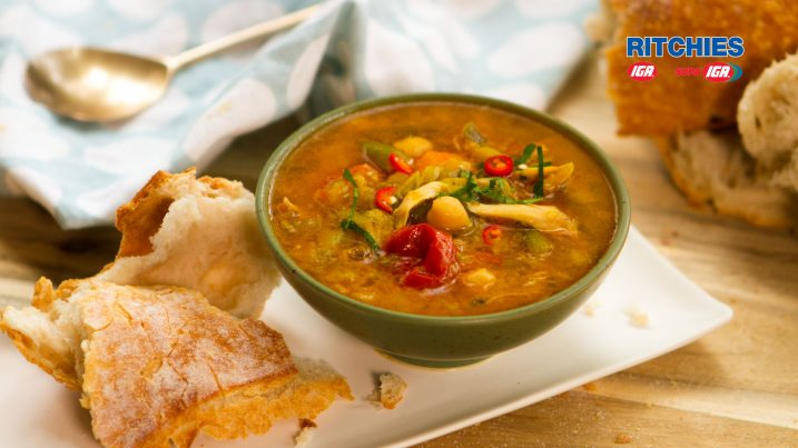 Moroccan spiced chicken soup