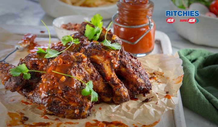 smoky barbecued butterfly chicken