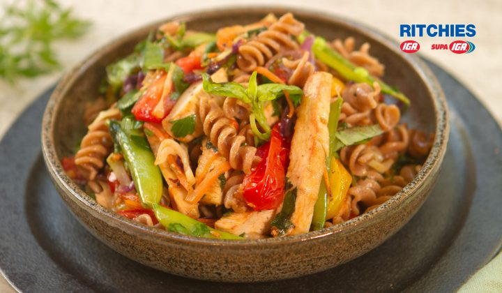 chicken spelt vegetable pasta