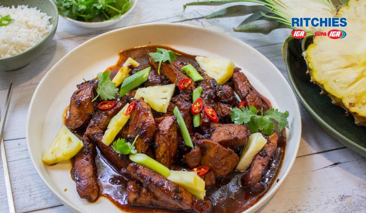pork chilli pineapple stir-fry
