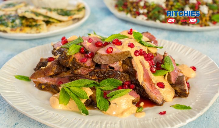 Moroccan butterflied leg of lamb