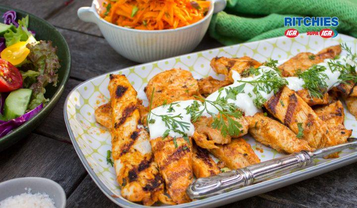 Tandoori chicken strips with carrot salad