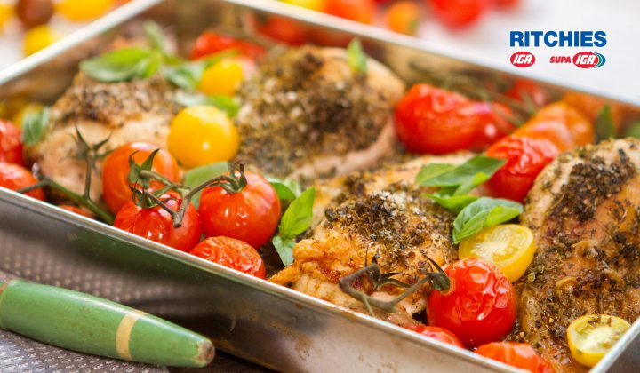 Chicken cherry tomato tray bake