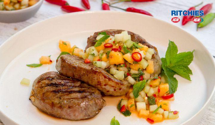 lamb steak with melon mint chilli salsa